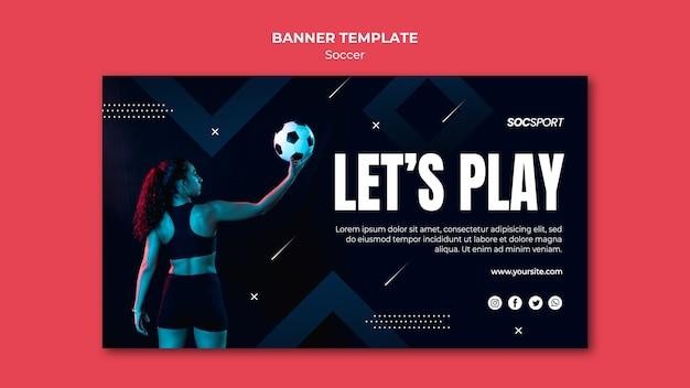 Concepto de plantilla de banner de fútbol