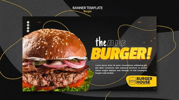 Concepto de plantilla de banner de hamburguesa