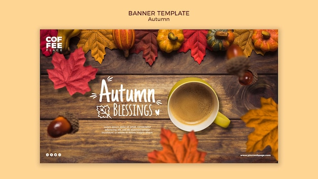 Concepto de plantilla de banner de otoño