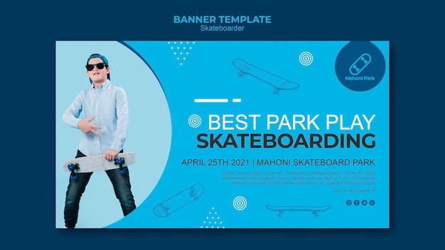 Concepto de plantilla de banner de skater