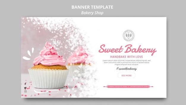 Concepto de plantilla de banner de tienda de panadería