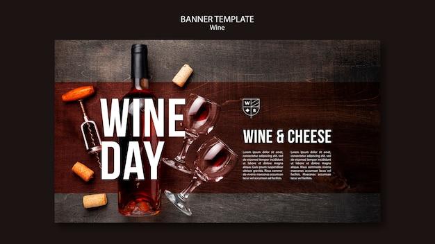 Concepto de plantilla de banner de vino