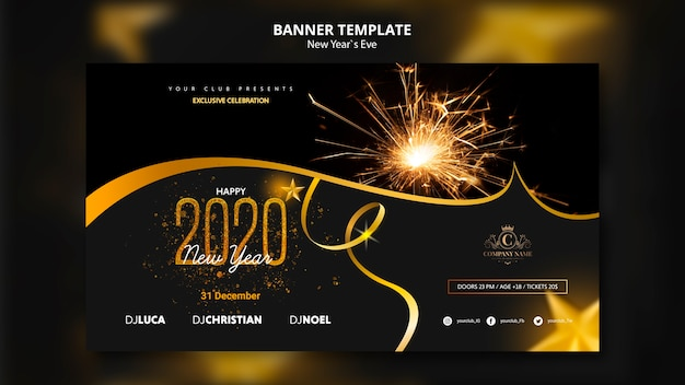 Concepto de plantilla para banner de víspera de año nuevo