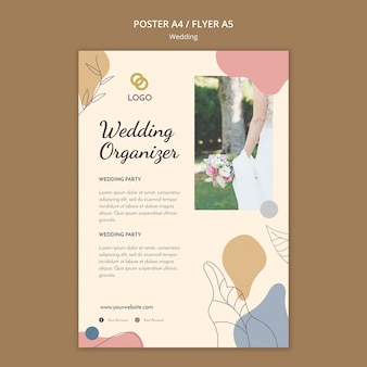 Concepto de plantilla de cartel de boda