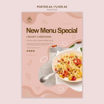 Concepto de plantilla de cartel de comida italiana