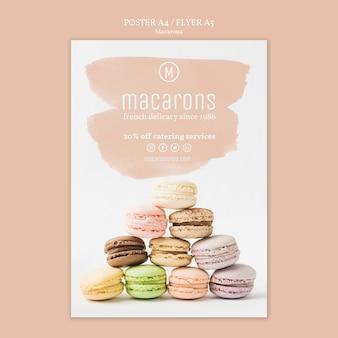 Concepto de plantilla de cartel de macarons