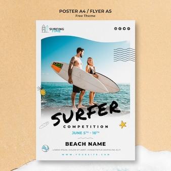 Concepto de plantilla de cartel de surfista
