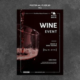 Concepto de plantilla de cartel de vino