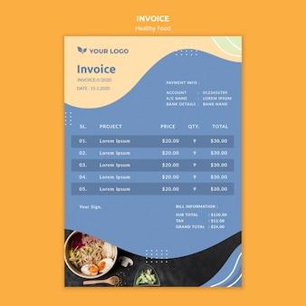 Concepto de plantilla de factura de restaurante