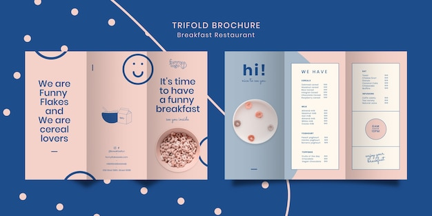 Concepto de plantilla para folleto tríptico de restaurante