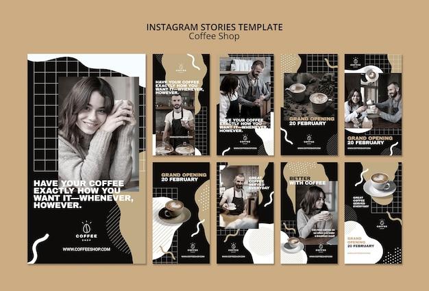 Concepto de plantilla de historias de instagram para cafetería