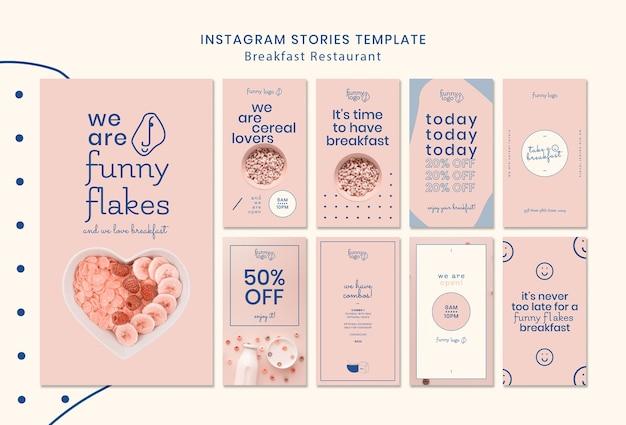 Concepto de plantilla para historias de instagram de restaurantes
