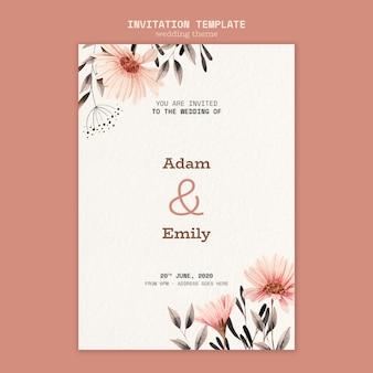 Concepto de plantilla de invitación de boda
