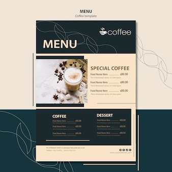 Concepto de plantilla de menú con café