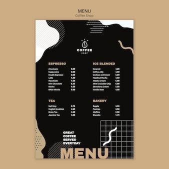 Concepto de plantilla de menú para cafetería