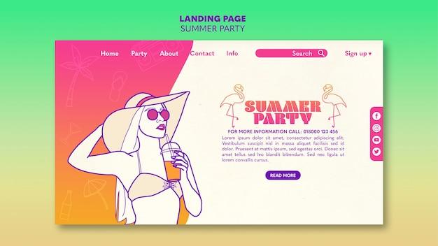 Concepto de plantilla de página de aterrizaje de fiesta de verano