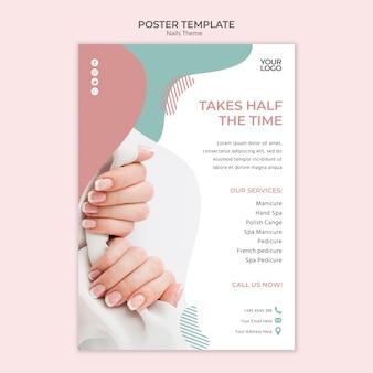 Concepto de plantilla de póster de estudio de uñas