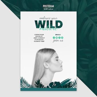 Concepto de plantilla de póster con naturaleza salvaje