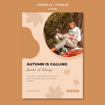 Concepto de plantilla de póster de otoño