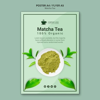 Concepto de plantilla de póster para té matcha
