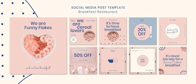 Concepto de plantilla para publicaciones en redes sociales de restaurantes
