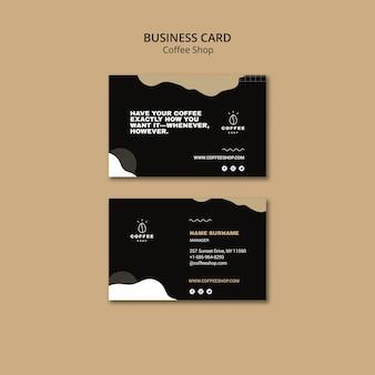 Concepto de plantilla de tarjeta de visita para cafetería