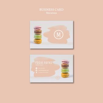 Concepto de plantilla de tarjeta de visita macarons