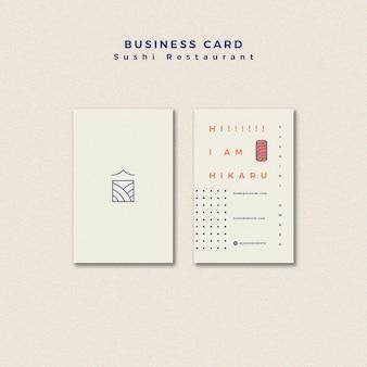 Concepto de plantilla de tarjeta de visita de restaurante de sushi