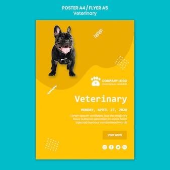 Concepto de plantilla veterinaria con perro