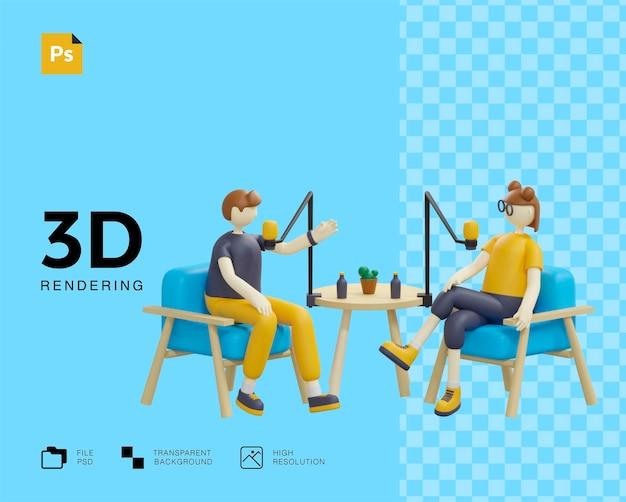 Concepto de podcast con diseño de personajes dos personas.