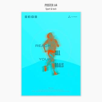 Concepto de póster deportivo y tecnológico