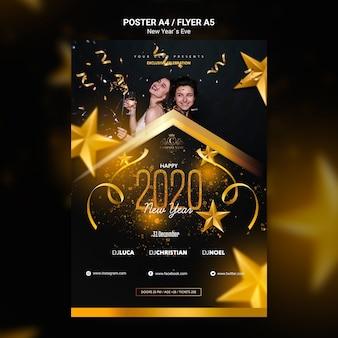 Concepto de póster para la plantilla de la víspera de año nuevo