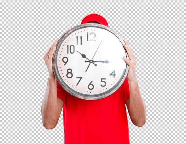 Concepto de repartidor sujetando un reloj