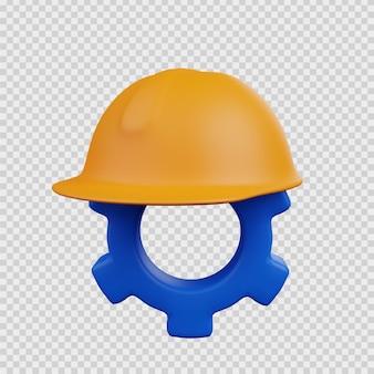 Concepto de representación 3d icono de construcción seguridad de casco con icono de engranaje