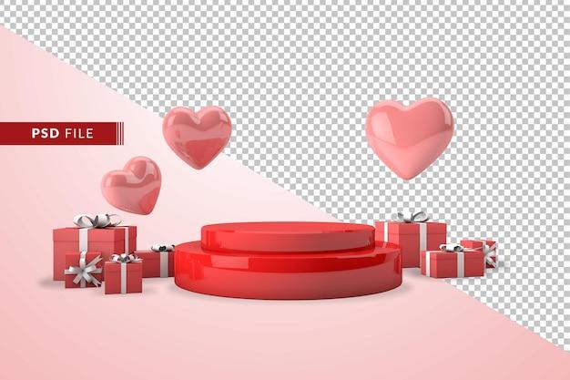 Concepto rosa del día de la madre en 3d con corazones