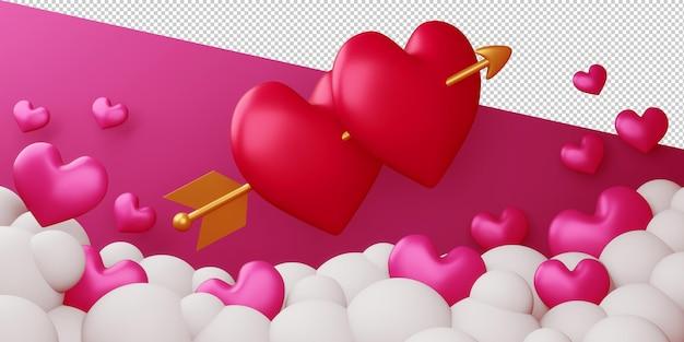Concepto de san valentín de tarjeta de amor en representación 3d