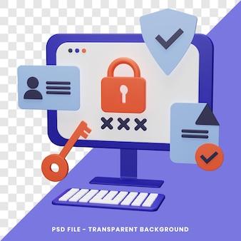 Concepto de seguridad cibernética representación 3d con aislado