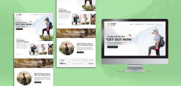 Concepto de senderismo con página de inicio y pantalla