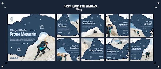 Concepto de senderismo publicación en redes sociales