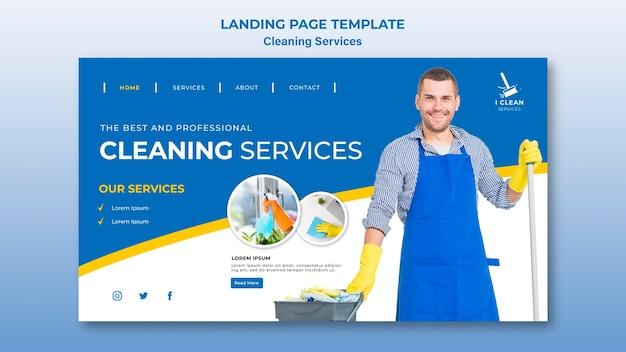 Concepto de servicio de limpieza plantilla de página de destino
