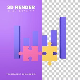 Concepto de solución empresarial de representación 3d con arreglo de rompecabezas.