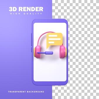 Concepto de soporte en línea de renderizado 3d con servicio las 24 horas.