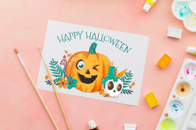 Concepto de sorteo de halloween de hoja de papel