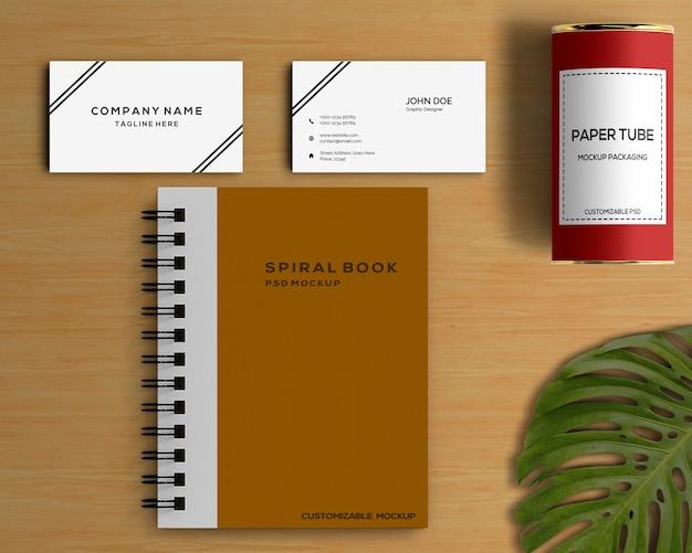 Concepto stationery con mockup de libro espiral