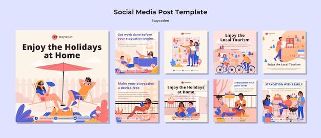 Concepto de staycation publicación en redes sociales