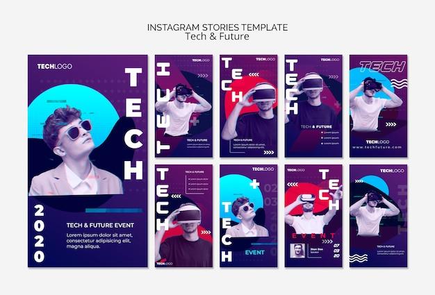 Concepto de tecnología para historias de instagram