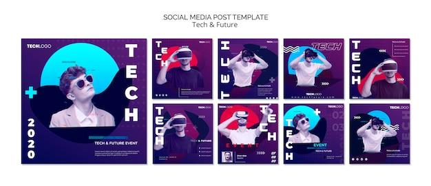 Concepto de tecnología para publicaciones en redes sociales