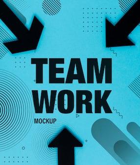 Concepto de trabajo en equipo con flechas negras y diseño de memphis