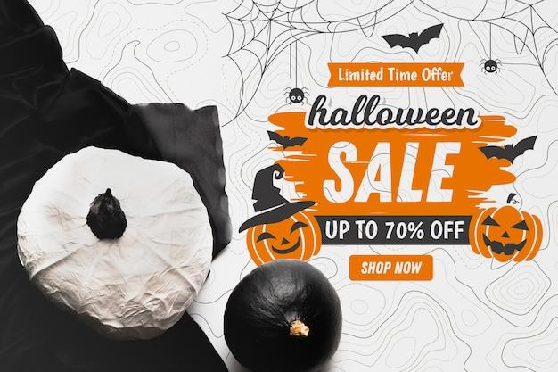 Concepto de venta de halloween con calabazas