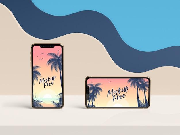 Concepto de verano de arreglo de teléfonos inteligentes